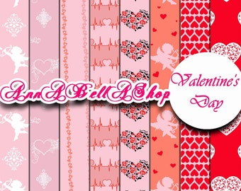 80% OFF SALE Digital Papers Valentine Day 5 - Love Hearts, Printable Backgrounds for Scrapbooking, Card Design, wallpaper.
