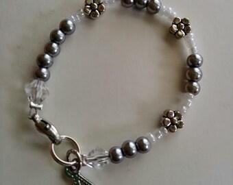 Silver Beaded Bracelet w/ Initial