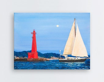 "Red lighthouse, landscape painting, blue sky, sunny day, boat,  24"" x 18"""