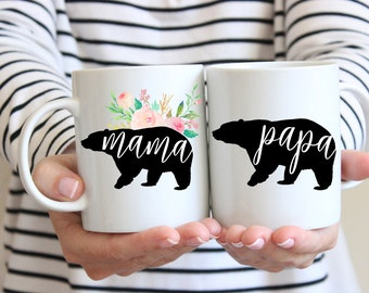 Mama Bear Mug | Papa Bear Mug | Gift for Mom | Gift for Dad | New Parents Gift | Baby Shower Gift | Set of 2 Mugs