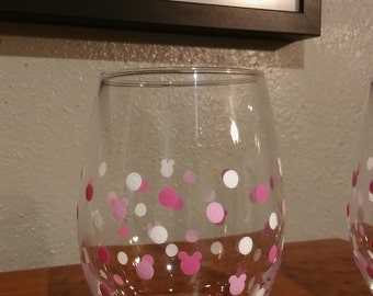 Mickey Silhouette stemless wine glass in Pink