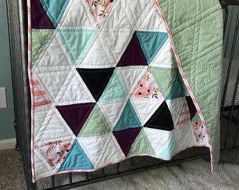 Modern triangle baby girl's quilt/playmat