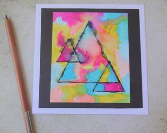 watercolour hand painted modern abstract inspiration card, handmade triangles card, card for friend, friend greeting card, card for her
