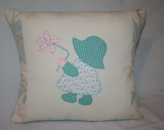 Little Girl with Flower Appliqued Cushion, Duck Egg Blue, Laura Ashley Fabric, Decorative Cushion, Bedroom, Child's Cushion, Cute, Gift