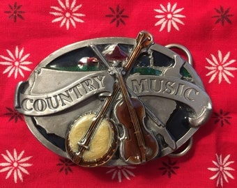 Vintage 1980's Country Music Banjo and Stand Up Bass American Metal and Enamel Belt Buckle