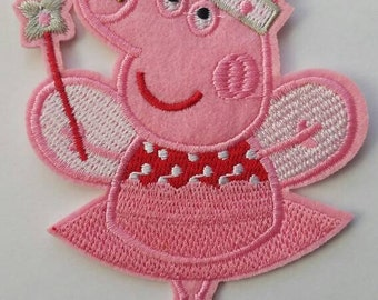 Peppa pig iron on inspired patch, Peppa pig ballerina birthday party inspired patch