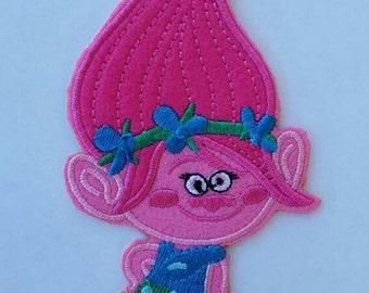 Poppy trolls embroidery inspired patch, trolls birthday party inspired patch, Poppy trolls large patch inspired