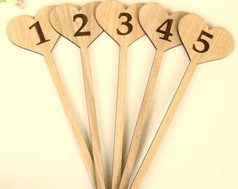Wedding Table Numbers, Freestanding Wedding Table numbers, Wooden Wedding Table Numbers, Personalised Wedding Wooden Table Numbers,Table 1