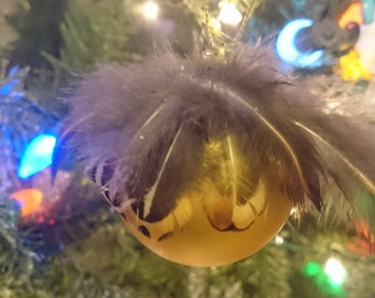 Gold pheasant feather ornaments, shatterproof