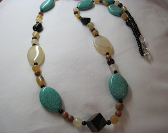 Fernley Turquoise ans Mixed Gemstone Necklace