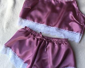 Dusky Pink Satin Pyjamas