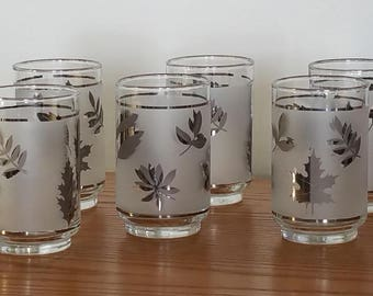 Libby Frosted Glasses Tumblers Etched Silver Leaves Clear Rim Glasses 15