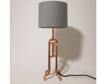Copper lamp with LED bulb and remote dimmer
