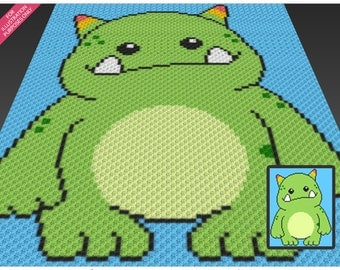 Little Monster crochet blanket pattern; c2c, cross stitch; knitting; graph; pdf download; no written counts or row-by-row instructions