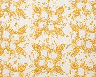 Linen Fabric By the yard Botanical Mustard on Ivory