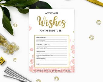 Pink and Gold Bridal Shower Advice and Wishes-Glitter Modern Floral Printable Personalized Bridal Shower Game-Bridal Shower Games