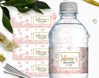 Pink and Gold Bridal Shower Water Bottle Labels-Glitter Modern Floral DIY Printable Personalized Bridal Shower Water Bottle Labels Wrappers