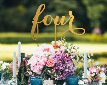 Table Numbers  with the stick - non-free standing– Table Numbers for Wedding - Gold Table Numbers  - Wedding Table Number