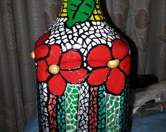 Upcycled Mosaic effect Vase(Plastic juice bottle)
