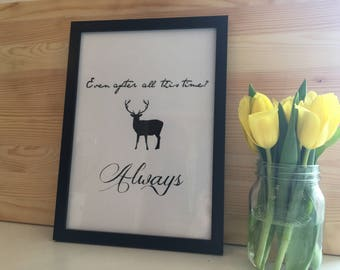 Harry Potter Inspired Stag Patronus Black and White Typography Print