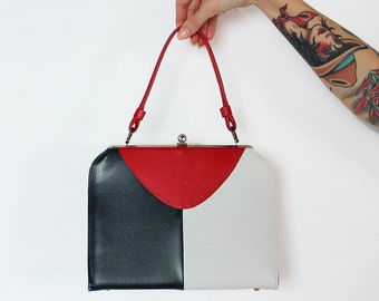 Navy, Red, and White Structured 60s Purse Handbag