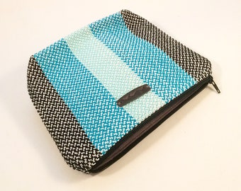 Black Teal and Aqua Handwoven Cosmetic Bag