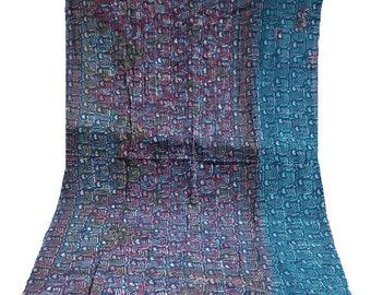 Indigo Kantha Quilt ,Blue Indigo Kantha Quilt , Vintage Kantha Quilt , Blue Print Fabric ,Twin Size Hand Made Bed Cover