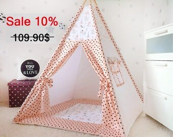 Teepee with mat, Childrens teepee, Wigwam, Kids Teepee, Playhouse, Tee pee, Kids teepee tent, play tents, teepee for kids,zelt, tipi