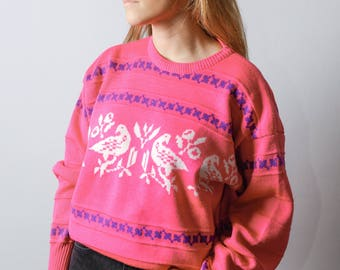 Vintage 80s Hot Pink Sweater