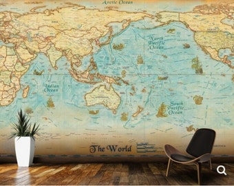 Antique World Map Wall Mural, Peel And Stick, Vintage Old Map, Self  Part 95