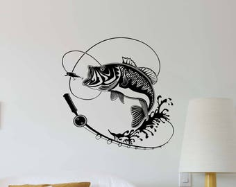 Great Fishing Wall Decal Fish Hook Fishing Rod Fisherman Gift Vinyl Sticker  Nautical Decor Home Office Poster