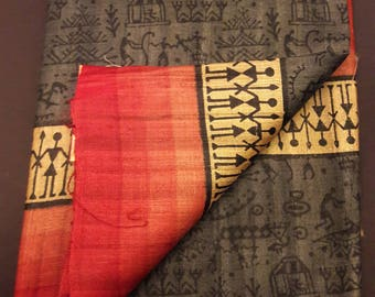 Silk Mark of India  certified Handwoven Pure Kosa silk / Tussar silk saree with tribal motifs - Free shipping in US