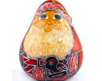 Special Sale 2X Gourd Santa Claus Nativity Ornaments; Christmas Tree Ornaments from Peru, Christmas Santas.