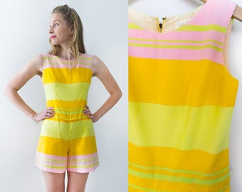 Vintage 70's Frankie Welch of Virginia Yellow/Pink/Green Stripe Romper Size S