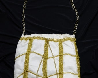 SALE!! Cream, white purse combined with gold thread, handmade bag, knitted purse
