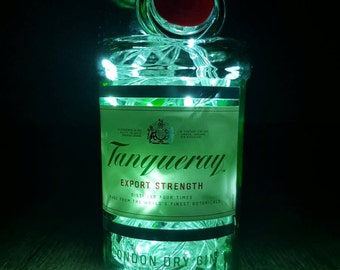 Tanqueray Gin 70cl upcycled  bottle light/lamp with LED lights.