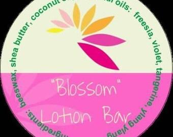 Blossom Lotion Bar #aromatherapy #tin #freesia #violet #tangerine #ylang ylang