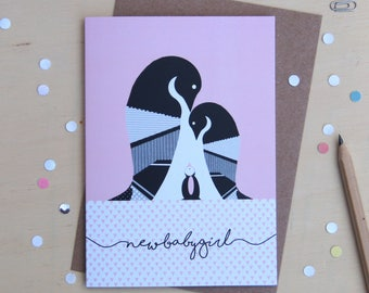 New Baby Girl Penguin Greeting Card - New Baby - Baby Girl - Penguin Baby Gift - Baby Shower