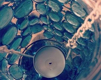 ON SALE Blue Kaleidoscope Candle Jar