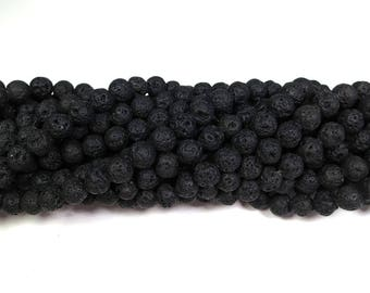 "Natural Black Volcano Lava 8mm Round Beads Full Strand 15.5"" Wholesale Gemstone"