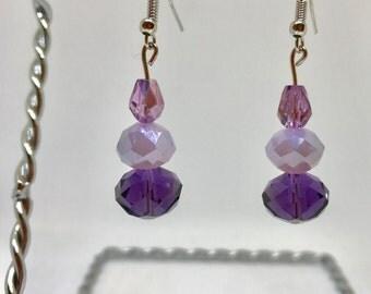 Purple dangle stacked earrings, drop earrings, tiered earrings, faceted earrings, sterling silver