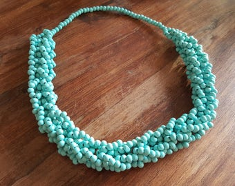 Blue wooden bead necklace