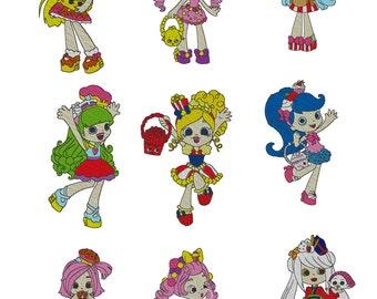 Set of nine Shopkins Shoppies Embroidery Design