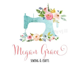 Premade Logo Sewing Machine Floral Clothes Stitching Handmade Branding Business Logo Shower Signs Etsy Shop Sign Banner Business Card PL074