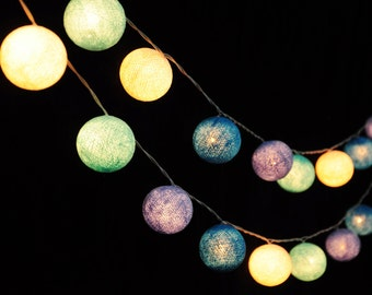 20 Cotton Balls Blue Tone Fairy String Lights Party Patio Wedding Floor Table Hanging Wall Gift Home Decor Living Bedroom Holiday Night