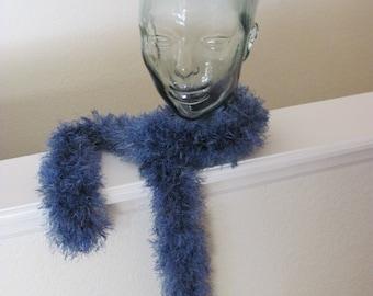 Blue Hand Crochet Scarf, Noodle Eyelash Scarf, Fun Fur Scarf, Fashion Scarf, Trendy Scarf
