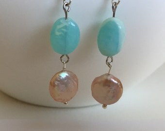Peruvian Blue Opal and Blush Coin Pearls Dangle Earrings