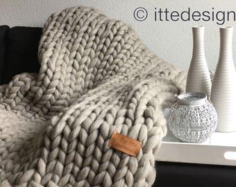 Living blanket XXL 100% Merino Wool light grey/brown/Plaid thick wool Chunky knit chunky knit