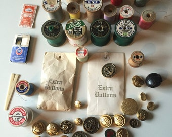Vintage Thread Spools | Vintage Sewing Needles | Vintage Buttons