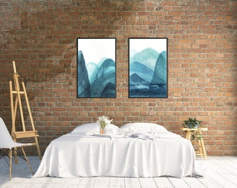 Abstract watercolor landscape painting, Set of 2 prints, Turquoise Art, Sea landscape, Wall Art Prints, Minimalist art, Scandinavian design